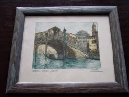"""Unknown artist. """"Ponte di Rialto Bridge, Venice"""" Canal Grande."""