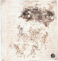 Leonardo da Vinci. Sketches of battle