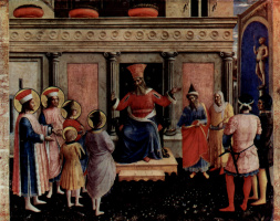 Fra Angelico. The Central altar of saints Cosmas and Damian from the Dominican convent of San Marco in Florence, the Foundation of the triptych, the second stage: