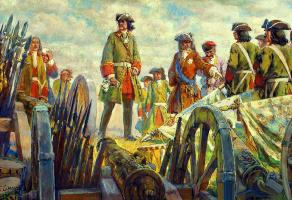 Evgeniy Evgenievich Lansere. Poltava battle. Tsar Peter on artillery positions