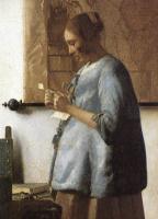Ян Вермеер. Дама в голубом, читающая письмо. Фрагмент