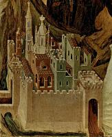 Дуччо ди Буонинсенья. Маэста, алтарь сиенского кафедрального собора, оборотная сторона, пределла со сценами Искушения Христа и Чудесами, сцена