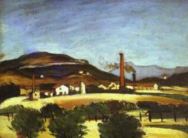 Поль Сезанн. Фабрики возле горы