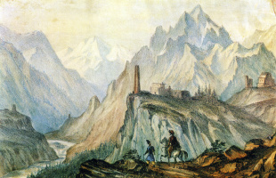 Михаил Юрьевич Лермонтов. Вид Крестовой горы из ущелья близ Коби