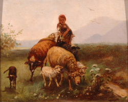 Фридрих Отто Геблер. Пастушка с овцами