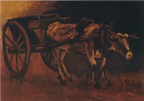 Винсент Ван Гог. Телега запряженная рыже-белым буйволом