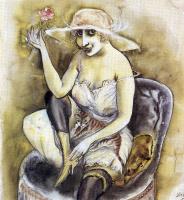 Отто Дикс. Женщина с кошкой и розой