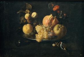 Juan de Zurbaran. Still life with fruit and goldfinch