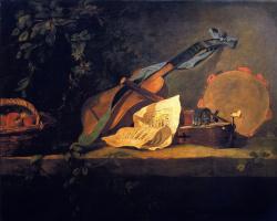 Жан Батист Симеон Шарден. Натюрморт с корзиной и музыкальными инструментами