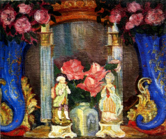Still life with porcelain figurines and roses