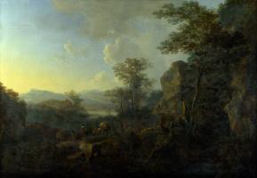 Ян Бот. Скалистый пейзаж с крестьянами и гружёными мулами