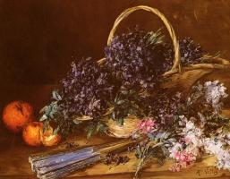 Антуан Воллон. Натюрморт с корзиной цветов