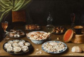 Осиас Берт. Натюрморт с различными сосудами на столе
