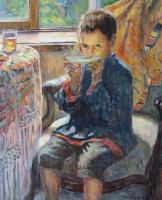 Николай Петрович Богданов-Бельский. Мальчик пьет чай