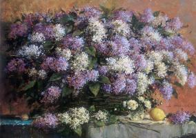 Alexander Victorovich Shevelyov. Branches of lilac. hostmela. 55.5 75 cm 1999