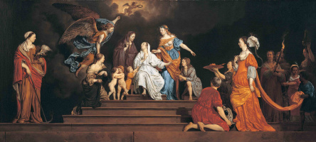Allegory. Innocence between virtues and vices