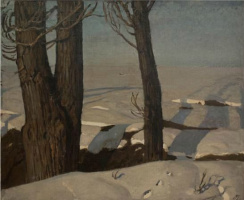 Михаил Пелопидович Латри. Стволы деревьев. Зима