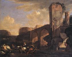 Ян Асселин. Итальянский пейзаж с рекой и арочным мостом