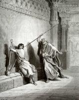 Поль Гюстав Доре. Иллюстрация к Библии: покушение Саула на Давида