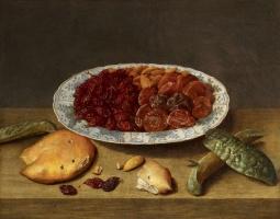 Якоб ван Хюльсдонк. Натюрморт с виноградом, абрикосами и сливами в фарфоровой чашке
