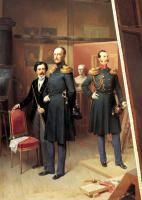 Богдан Павлович Виллевальде. Николай I с цесаревичем Александром Николаевичем в мастерской художника в 1854 году