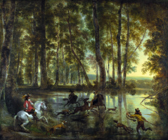 Nicholas Peters Berchem. Hunting in the forest