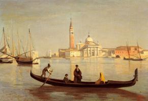 Camille Corot. Venetian gondola on the Grand Canal