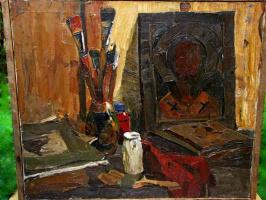 """Юрий Александрович Савинов. """"Натюрморт с иконой"""", 1958, х./м., 63,5х75"""