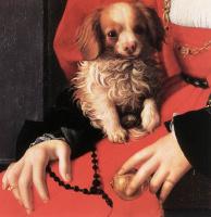 Аньоло Бронзино. Портрет дамы с щенком детяль