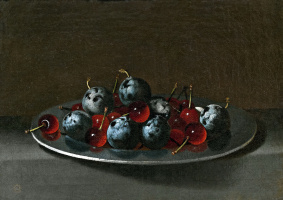 Хуан ван дер  Амен-и-Леон. Plate with Plums and Morello Cherries