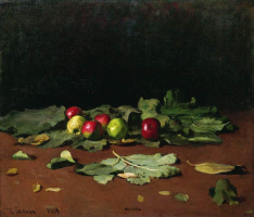 Apples and leaves