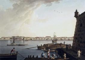Бенжамен Патерсен. Вид Мраморного дворца от Петропавловской крепости