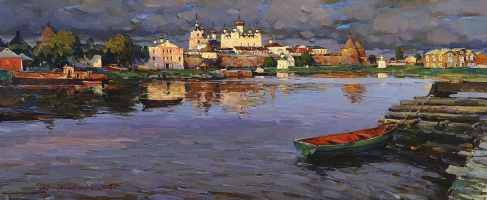 Alexander Victorovich Shevelyov. The Solovetsky monastery.Oil on canvas 43,8 x 105,3 cm 2014