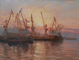 Sunset in the port
