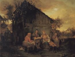 Йозеф Данхаусер. Семья отдыхает на закате