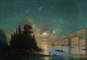 Иван Константинович Айвазовский. Вид приморского города вечером с зажженным маяком