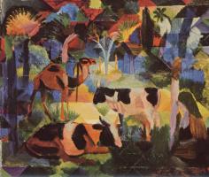 Август Маке. Пейзаж с коровой и верблюдом