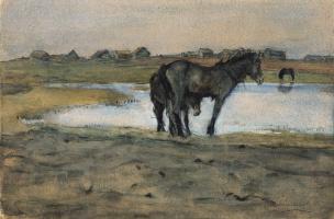 Валентин Александрович Серов. Лошади у пруда