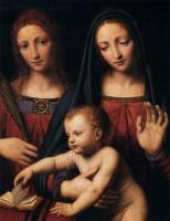 Бернардино Луини. Мадонна с младенцем со святыми Екатериной и Варварой- фрагмент