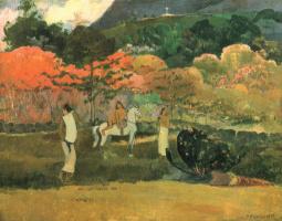 Paul Gauguin. Women and white horse