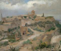 Рамон Касас Карбо. Пейзаж с замком Тамарит, Таррагона, Испания