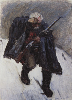 """Vasily Ivanovich Surikov. An old soldier, down the slopes of the snow mountains. A sketch for the painting """"Suvorov crossing the Alps"""""""