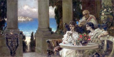 Вильгельм Александрович Котарбинский. На террасе (Гадание на розах)