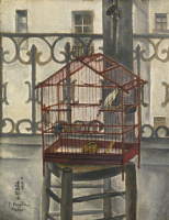 Цугухару Фудзита ( Леонар Фужита ). Балкон с птичьей клеткой. 1917