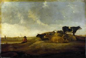 Альберт Якобс Кейп. Пастух с семью коровами на реке