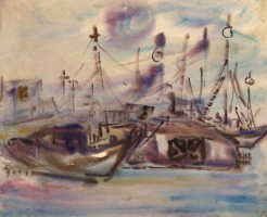 Василий Андреевич Поникаров. Море, лодки, утро