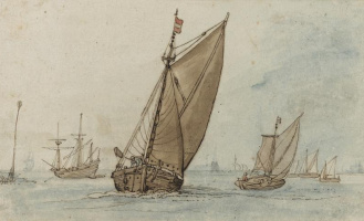 Хендрик Аверкамп. Парусные лодки в штиль на фоне города