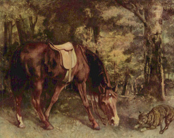 Gustave Courbet. Horse in the woods