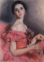 Зинаида Евгеньевна Серебрякова. Портрет балерины Е.Н.Гейденрейх в красном
