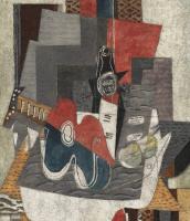 Жорж Брак. Натюрморт с бутылкой и гитарой